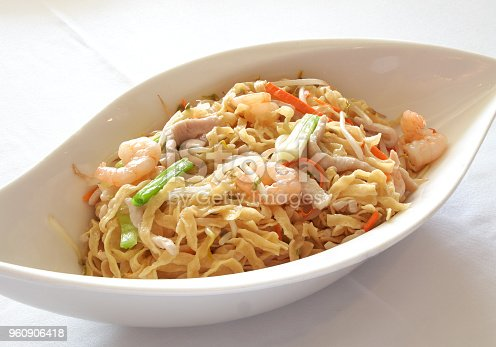 Cantonese Chiu Chow style fried noodles, with pork, shrimp, carrots, bean sprouts, and green onions.