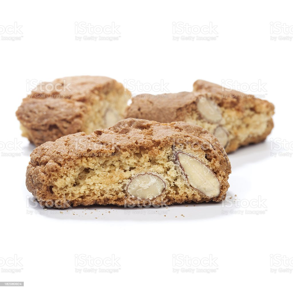 Cantuccini cookies with almond, isolated on white royalty-free stock photo