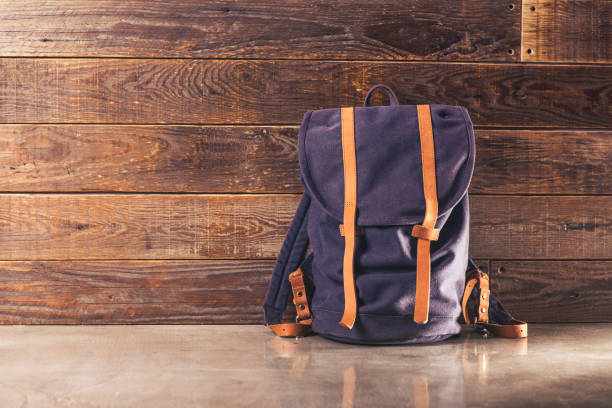 Canvas and leather backpack stock photo