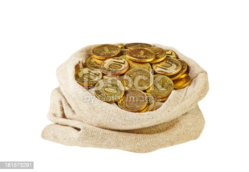 482747823istockphoto Canvas bag filled with coins. A white background. 181573291