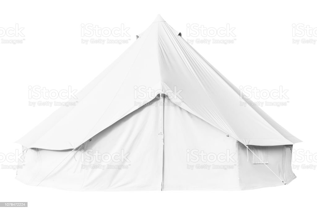 Canvas bell tent isolated on white stock photo