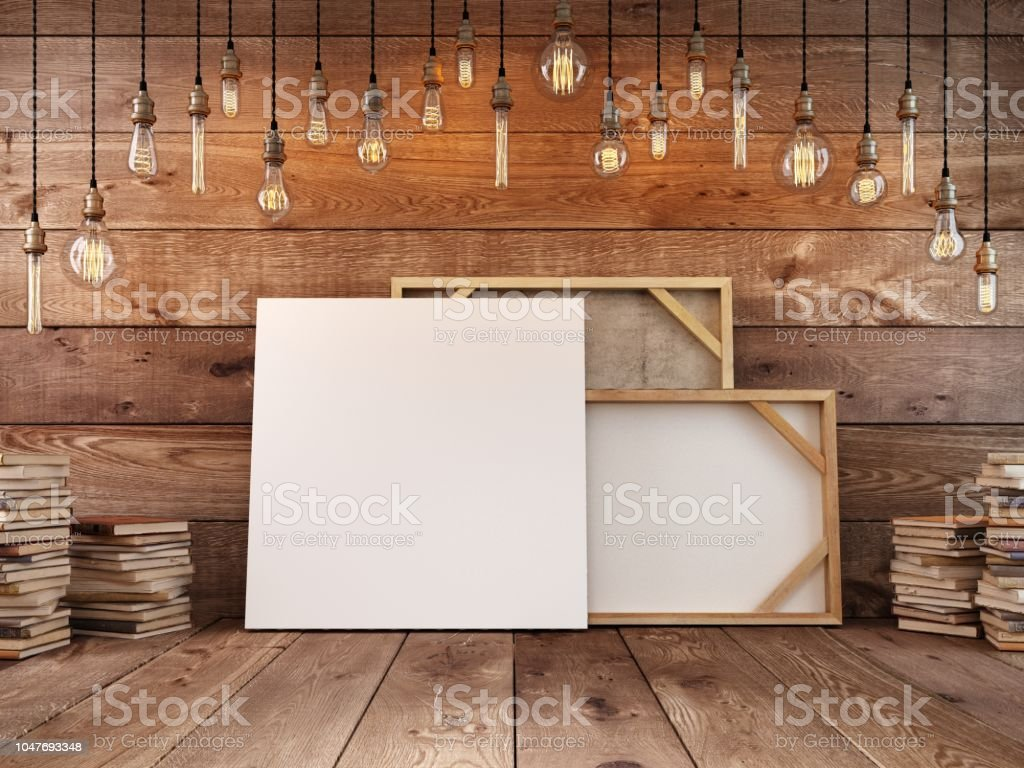Canvas For Paintings Mockup Poster Stands At The Wall Hanging Light
