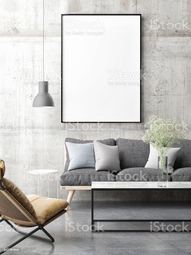 Leinwand Mock-up minimal skandinavischen Designs, Wohnzimmer – Foto
