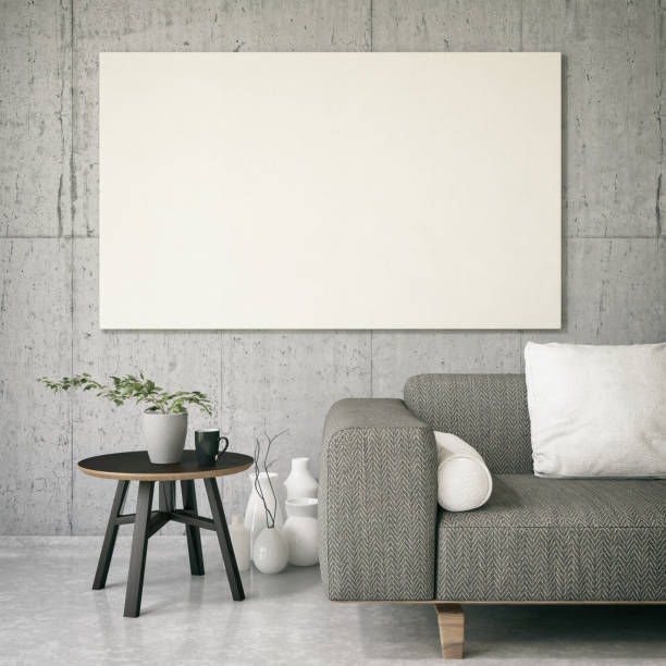 Canvas on Living Room's Wall stock photo