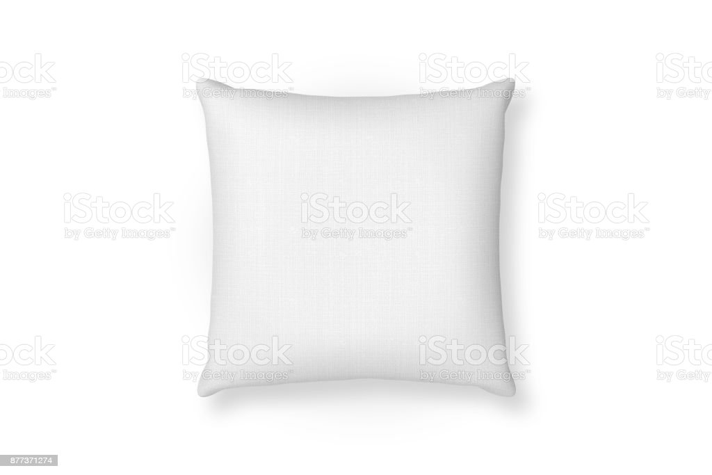 Canvas pillow mockup. White blank cushion isolated background. Top view stock photo