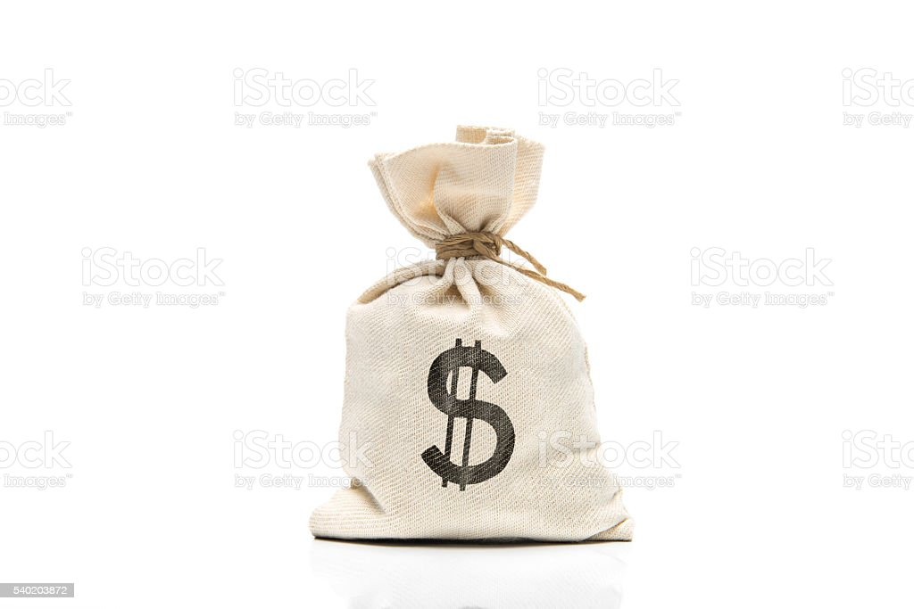 Canvas sack with USD symbol isolated on white background stock photo