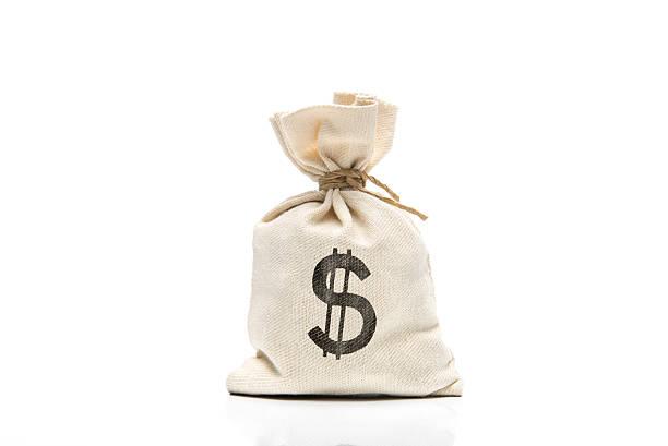 Canvas sack with USD symbol isolated on white background stock photo