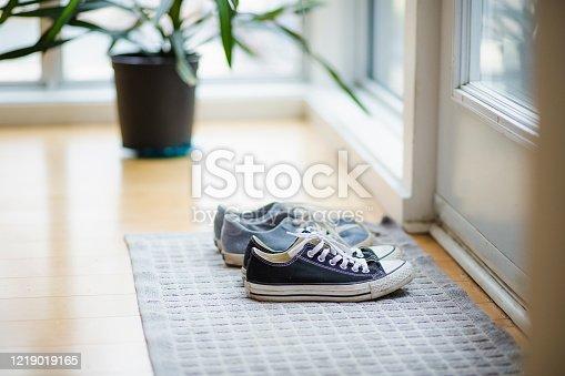 entrance hall, shoe, sport shoe, pair