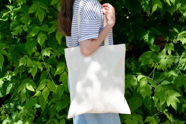 Canvas tote bag mockup stock photo