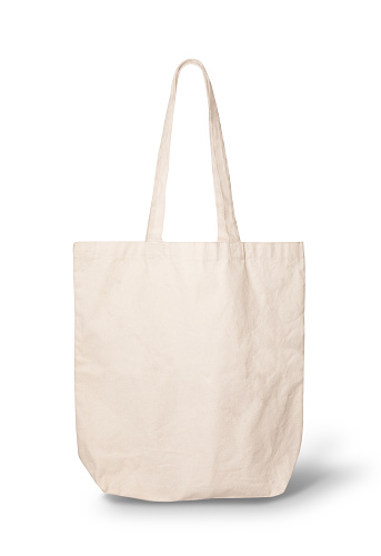 canvas tote bag with clipping path.