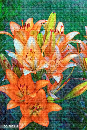 istock Canvas with painted bright orange lilies on a background of green grass 1004782344
