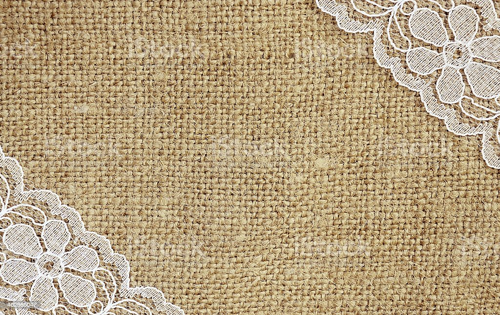 Canvas with white lace stock photo
