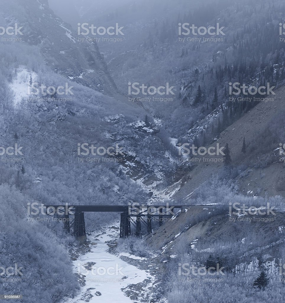 Canyon, bridge and fog or cloud royalty-free stock photo