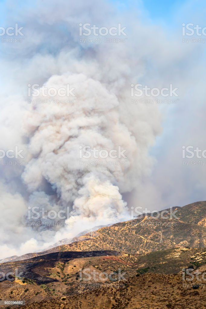 Canyon Brush Fire stock photo