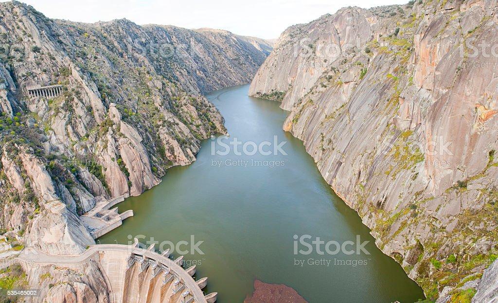 Canyon Dam Aldeadeavila stock photo