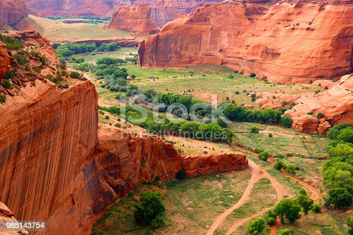 The red cliffs and canyon floor of the Canyon de Chelly National Monument in Arizona.