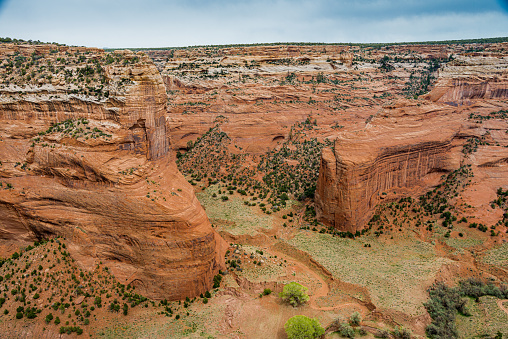 A view down the Valley in Canyon de Chelly National Monument, Arizona.