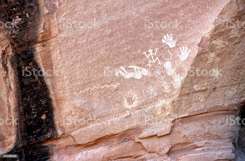 Canyon de Chelly Rock Art detail 2 stock photo