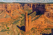 Canyon de Chelly National Monument, Arizona. Scenic View, Cloudy Blue Sky Background