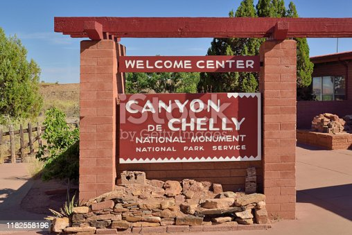 Just the Canyon de Chelly welcome center sign showing the brilliant sky and colors in the great american deserts of the southwest