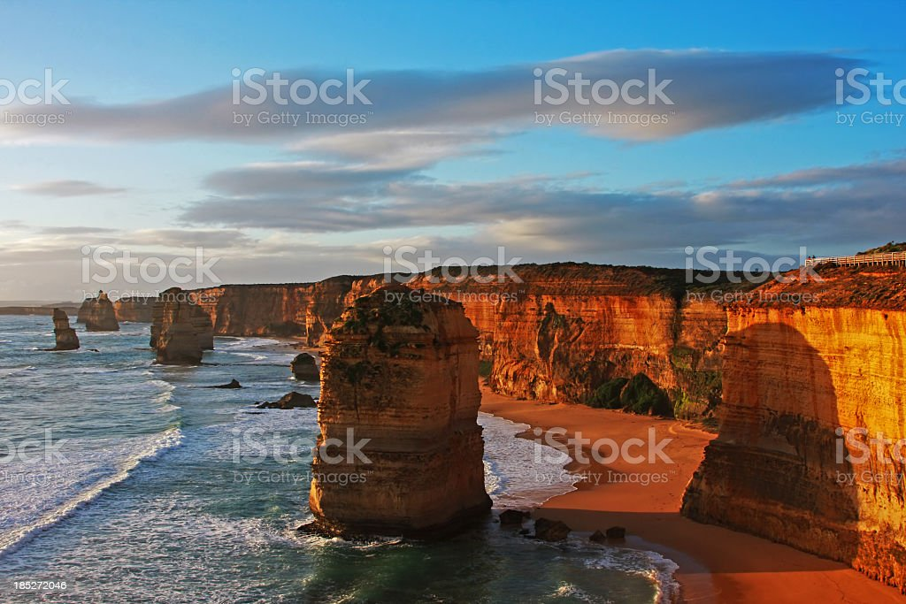 A canyon depiction of the twelve apostles reflecting stock photo