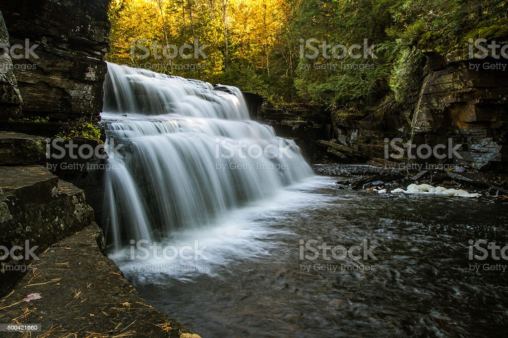 Canyon Falls During A Michigan Autumn stock photo