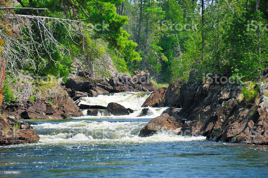 Canyon falls in the Quetico stock photo