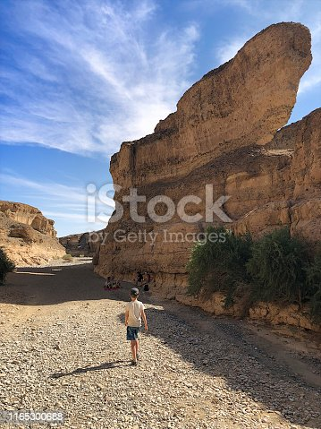 Boy hiking in the Sesriem Canyon Namib-Naukluft National Park towards a family picnic in the rock formation's shade Namibia Africa