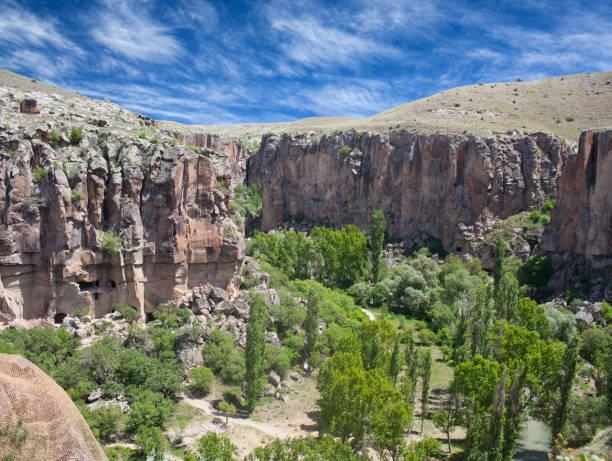 Canyon in Ihlara valley, Cappadocia, Turkey stock photo