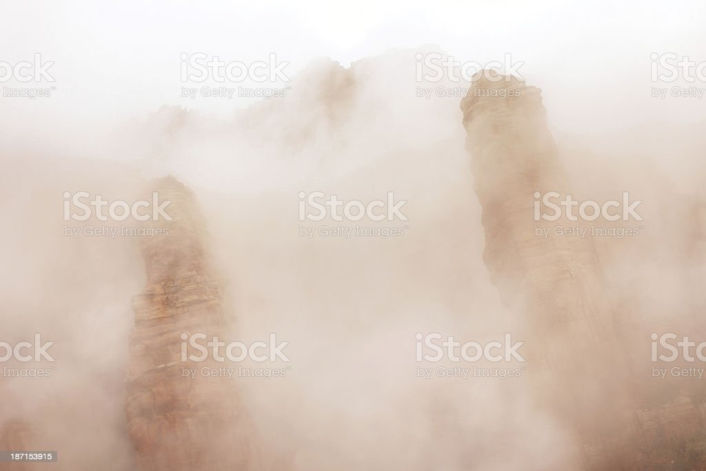 Canyon Mist Red Rock Hoodoo Pinnacles royalty-free stock photo