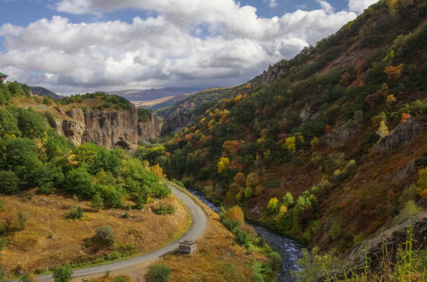 Canyon of Arpa river near spa resort city Jermuk. View on canyon of Arpa river near spa resort city Jermuk. Autumn's color trees. Armenia ARPA stock pictures, royalty-free photos & images