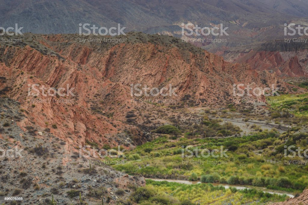 Canyon of Rio Calchaqui, Puente del Diabolo, La Poma. stock photo