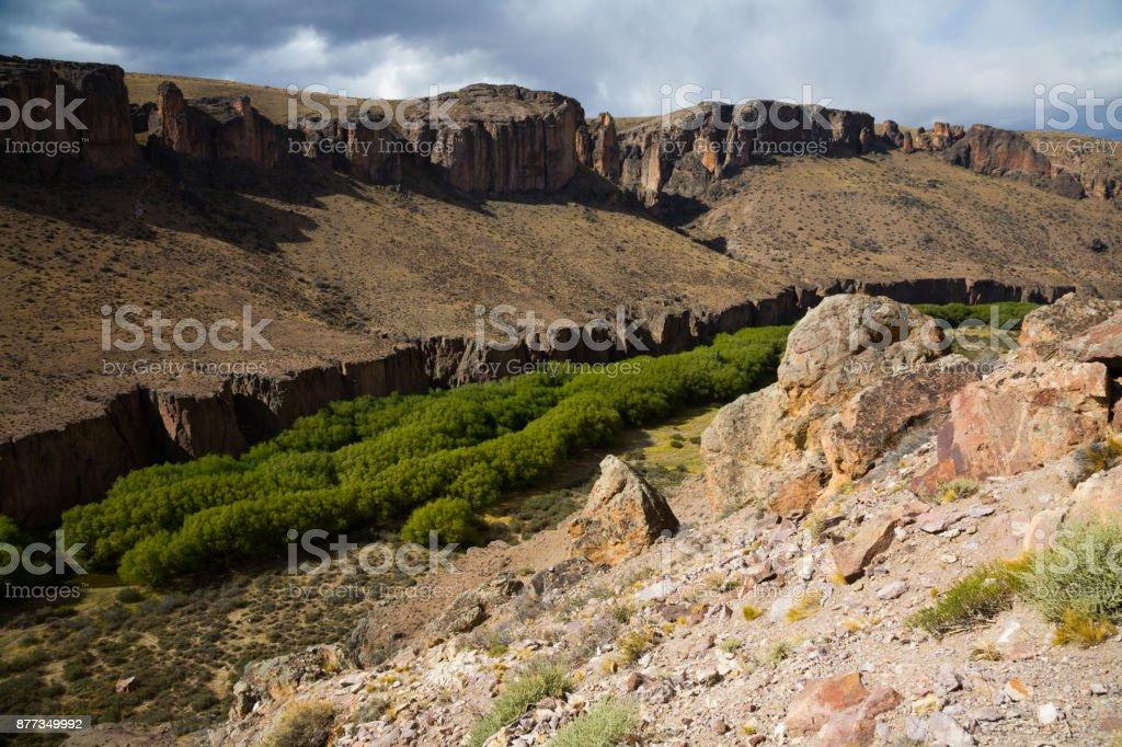 Canyon of river Rio Pinturas stock photo