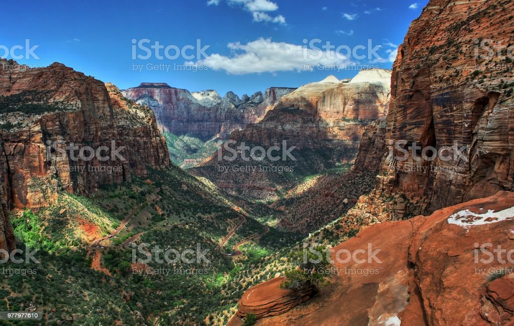 Canyon Overlook Trail, Zion National Park in Utah. stock photo
