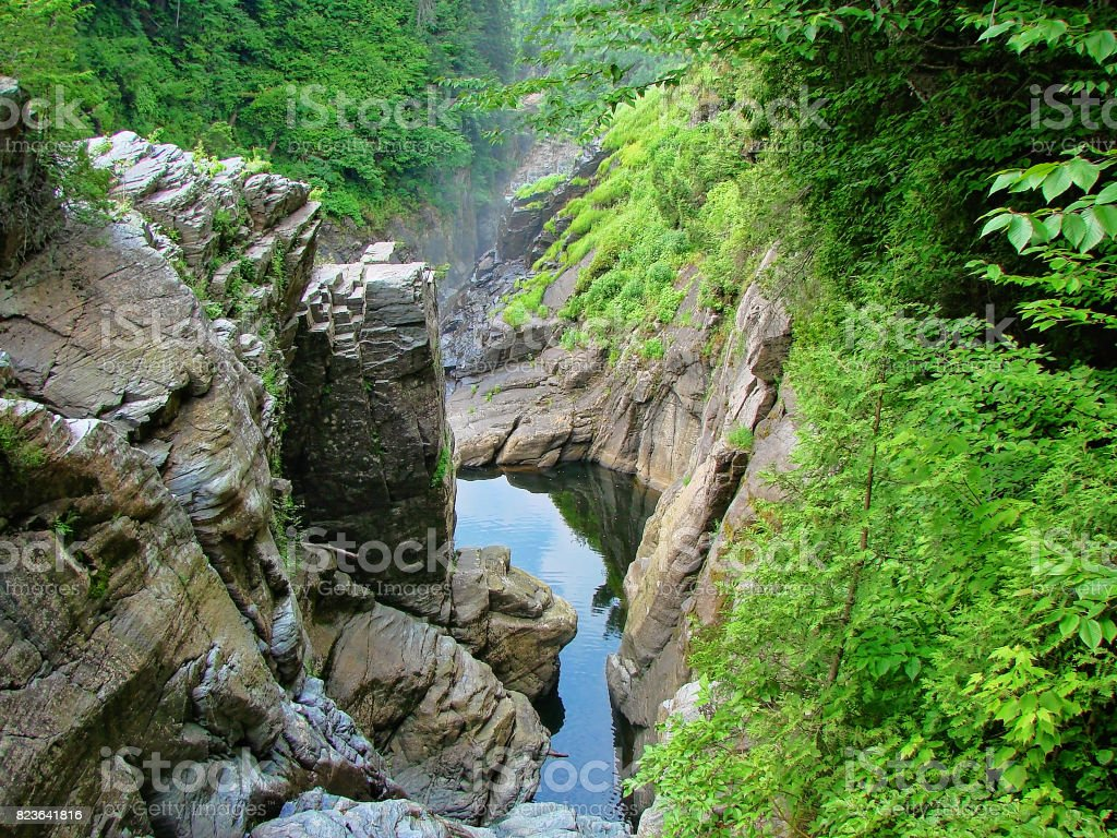 Canyon Sainte-Anne Waterfall, Quebec stock photo