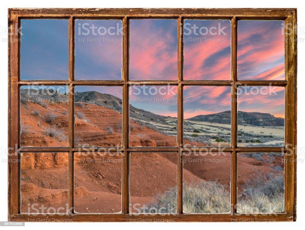 canyon sunset window view stock photo