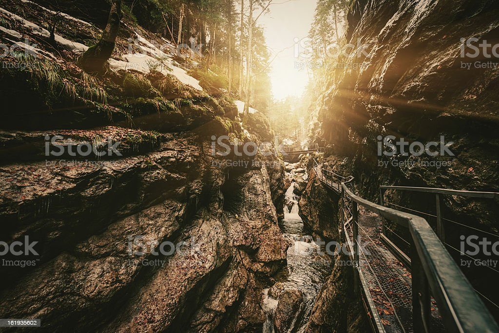 Canyon with a bright sun stock photo