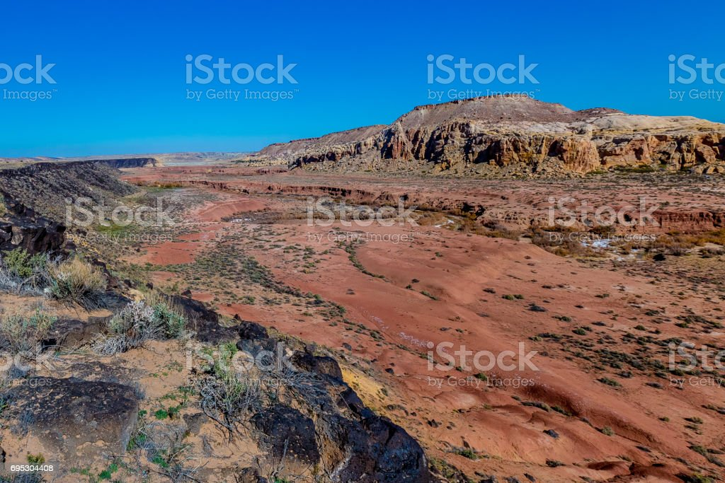 Canyon with Lava Rock in New Mexico stock photo