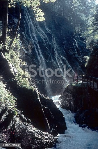 Austria, 1970. Gorge with wild brook in the Alps.