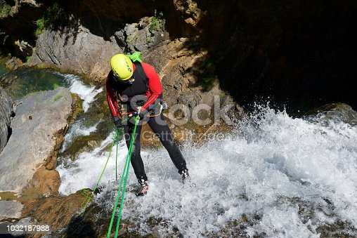 Canyoning in Otal Valley, Pyrenees, Huesca Province, Aragon in Spain.