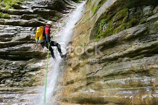 Canyoning in Furco Canyon, Broto, Pyrenees, Huesca Province, Aragon, Spain.