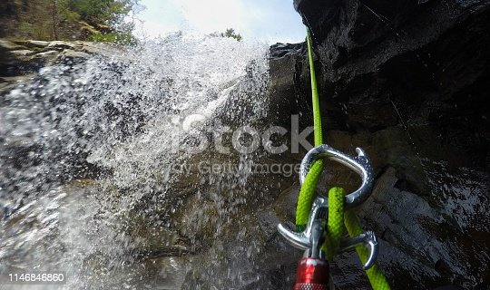 Descending down a waterfall
