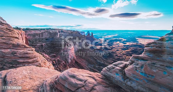 Remote located dry canyons seen at the Canyonlands National Park in Utah, USA.