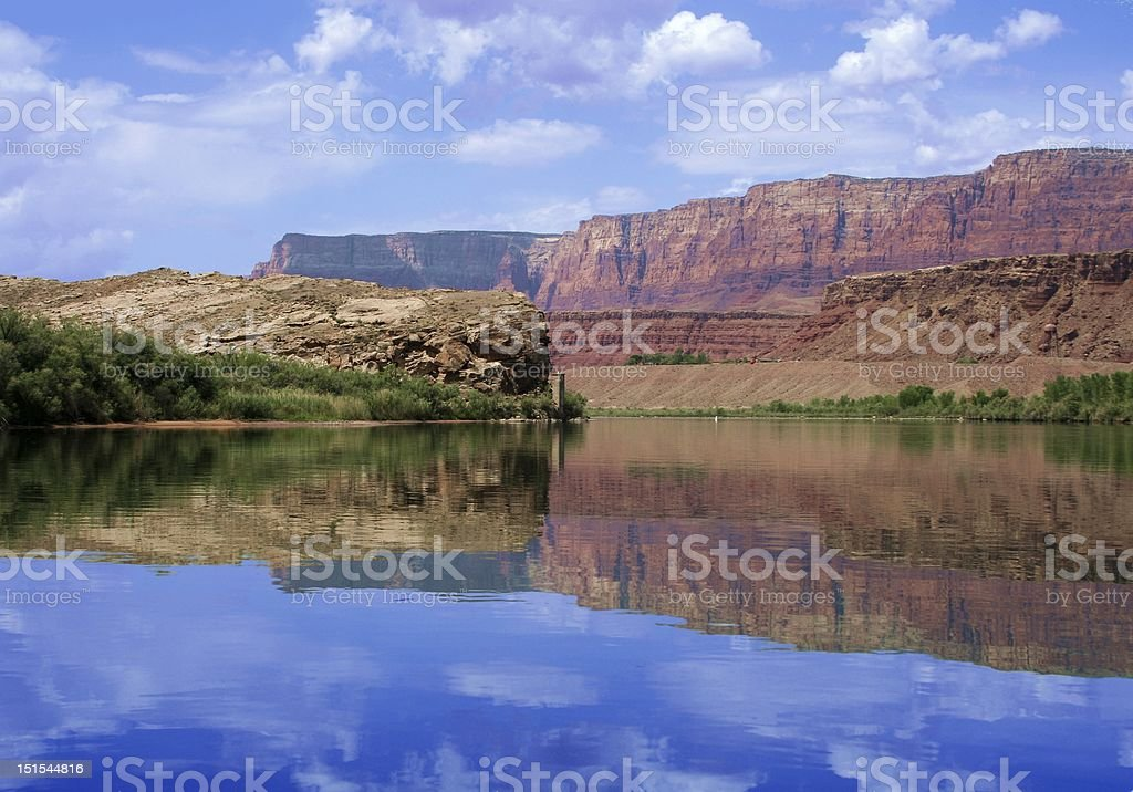 Canyons reflected in water royalty-free stock photo