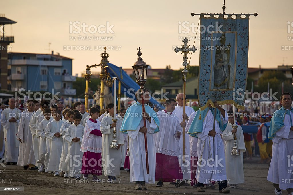 Caorle; religious procession royalty-free stock photo