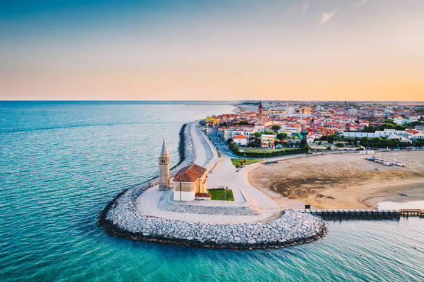 Caorle town and beach in Italy during summer stock photo
