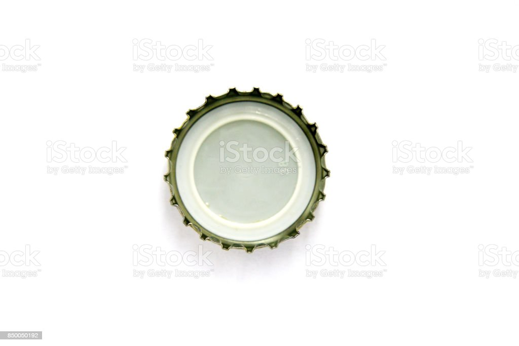 Cap Beer Bottle Closeup On A White Background Top View Stock Photo