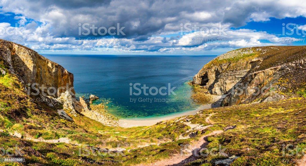 Cap de la Chevre and sea coast in Brittany (Bretagne), France. stock photo