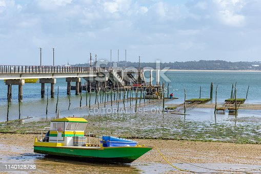 Cap Ferret, France - March 7, 2019: two oyster farmers are working in their oyster beds at low tide, close to the central beach and the jetty of Cap Ferret, on the Arcachon bay, where tourism and oyster farming are the main activities.