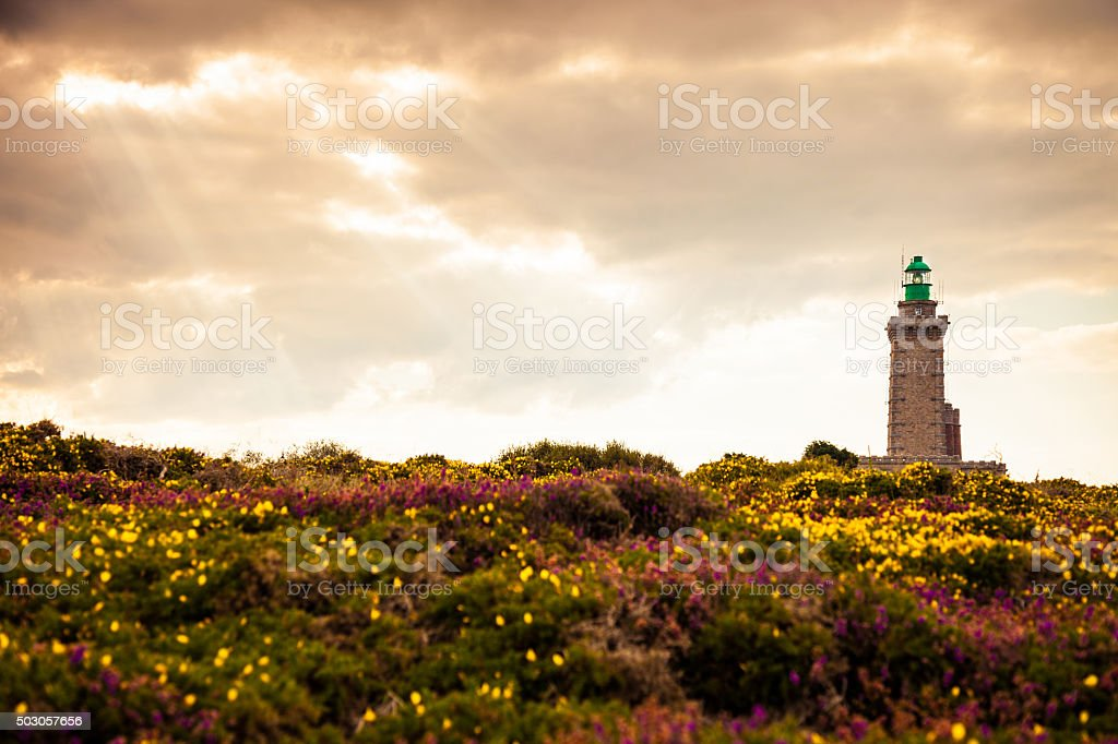 Cap Frehel lighthouse in Brittany , France stock photo